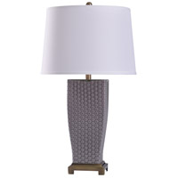StyleCraft Home Collection L318638DS Duerstock 11 inch 150 watt Brass and Gray Table Lamp Portable Light