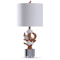 StyleCraft Home Collection L318759DS St. Ives 13 inch 150 watt Coral and Cream Table Lamp Portable Light