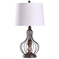 StyleCraft Home Collection L318763DS Yarrow 12 inch 150 watt Bronze and Weathered and Off White Table Lamp Portable Light
