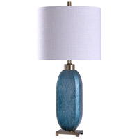 StyleCraft Home Collection L318772DS Maldon 13 inch 150 watt Brushed Steel and Blue Table Lamp Portable Light