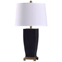 StyleCraft Home Collection L318817DS Sea 11 inch 150 watt Brass and Navy Blue Table Lamp Portable Light