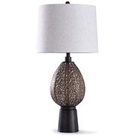 StyleCraft Home Collection L318839DS Finchley 12 inch 100 watt Bronze Metal and Off White Table Lamp Portable Light