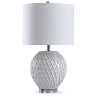 StyleCraft Home Collection L319146DS Tabitha 13 inch 150 watt White and Gray Quilted Ceramic Table Lamp Portable Light