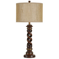 StyleCraft Home Collection L32113DS Signature 32 inch 100 watt Walnut Ridge and Barclay Brass Table Lamp Portable Light