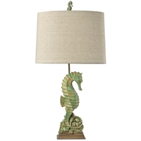 StyleCraft Home Collection L34160ADS Signature 31 inch 150 watt Seafoam Green with hints of Beige and Tan Table Lamp Portable Light