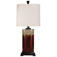 StyleCraft Home Collection L34377DS Signature 32 inch 100 watt Dark Red and Tan Glaze Table Lamp Portable Light