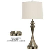 Signature 31 inch 100 watt Brushed Steel Table Lamp Portable Light