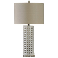 StyleCraft Home Collection L37227DS Signature 33 inch 150 watt White Glaze Table Lamp Portable Light