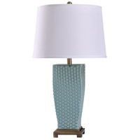 StyleCraft Home Collection L38627DS Sea 11 inch 150 watt Brass and Blue Table Lamp Portable Light