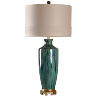 StyleCraft Home Collection L39110DS Signature 38 inch 150 watt Blue Glaze and Gold Table Lamp Portable Light