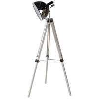 StyleCraft Home Collection L73459DS Craven 55 inch 40 watt Black and Polished Steel Floor Lamp Portable Light