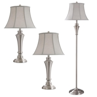 StyleCraft Home Collection L8018ADS Signature 61 inch 100 watt Brushed Nickel Floor Lamp/Table Lamp Portable Light 2 Table 1 Floor Lamp