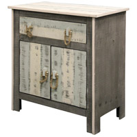 Signature Driftwood Grey and Sky Blue and White Cabinet