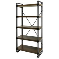 StyleCraft Home Collection SF2134DS Signature Dark Gun Metal Powder Coat and Mahogany Venee Bookcase