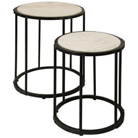 Signature 24 X 17 inch Blackended Blue-Grey and White Cararra Marble Nesting Table