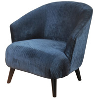 Signature Walnut Stained and Deep Blue Ribbed Chair
