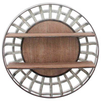 Signature 35 inch Brown and Galvanized Wall Shelf