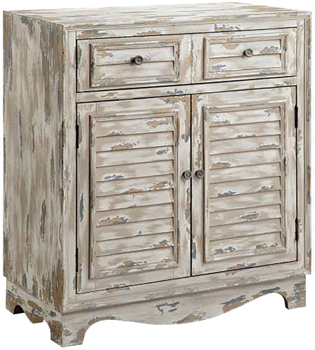 Stein World 13612 Rufton White And Grey With Brown And Antique Bronze  Accent Cabinet