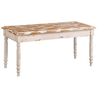 Oldsmar Weathered Cream and Light Brown Bench Home Decor
