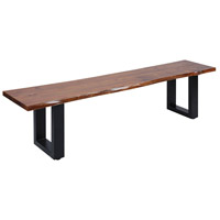 Fleming Living Edge Acacia Wood/Natural Stain/Black Metal Bench