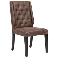 Elkins Dark Tan Faux Suede/Dark Brown Rubber Wood Chair