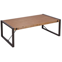 Armour Square 47 X 28 inch Kara Brushed Saw Cut Wood/Grey Bronze Metal Coffee Table