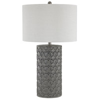 Stein World 76057 Cazoria 29 inch 150 watt Grey Glazed Ceramic/White Faux Silk Table Lamp Portable Light