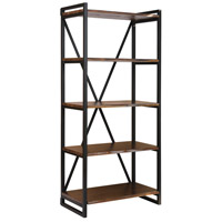 South Loop Dark Brown and Black Bookshelf