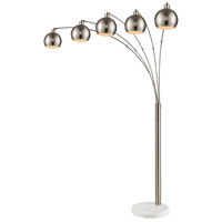 Peterborough 86 inch 40 watt Polished Nickel with White Marble Floor Lamp Portable Light
