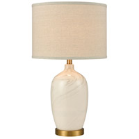 Freaty 25 inch 150 watt Marbled White Glaze/Antique Brass Table Lamp Portable Light