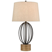 Black and Pine Wood Table Lamps
