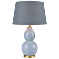 Stein World 77125 Sienna 28 inch 150 watt Blue Glaze with Matte Brushed Gold Table Lamp Portable Light