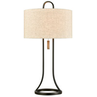 Dark Bronze and Wood Table Lamps