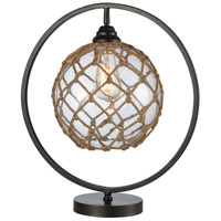 Stein World 77167 Fisher 19 inch 7 watt Bronze / Clear / Natural Rope Table Lamp Portable Light