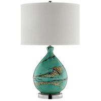 Morenci 24 inch 100 watt Teal and Black with Gold and Brown Table Lamp Portable Light