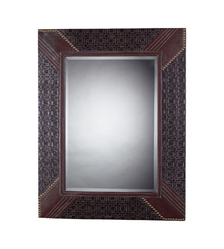 Sterling 116 011 Faux Leather Framed 35 X 28 Inch Espresso Tan Wall Mirror