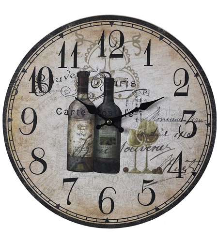 Sterling 118-032 French Wine Bottles 13 X 13 inch Wall Clock photo