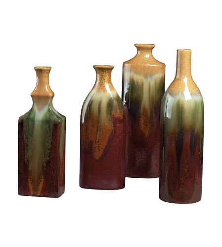 Sterling Industries Set Of 4 Glazed Ceramic Jars Vase in Pewit 119-014 photo