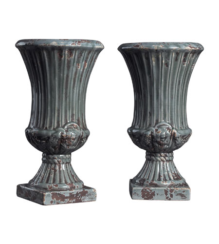 Sterling Industries Set Of 2 French Reproduction Ceramic Vases in Alto Grey 119-033 photo