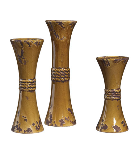 Sterling Industries Set Of 3 Ceramic Candle Holders Vase in Dijon 119-038 photo