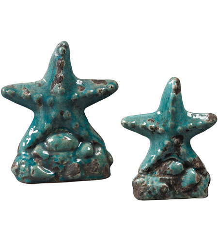Sterling Industries Set Of 2 Ceramic Star Fish Decorative Accessory in Turquoise Glaze 119-043/S2 photo