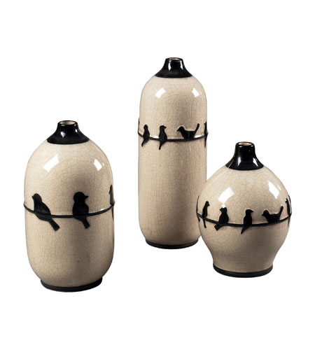 Sterling Industries Set Of 3 Birds On A Wire Ceramic Jars Decorative Accessory in Cream Glaze / Black 119-048/S3 photo