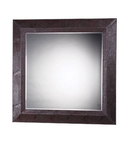 Sterling Industries Barton Mirror in Chocolate Faux Croc 120-004 photo