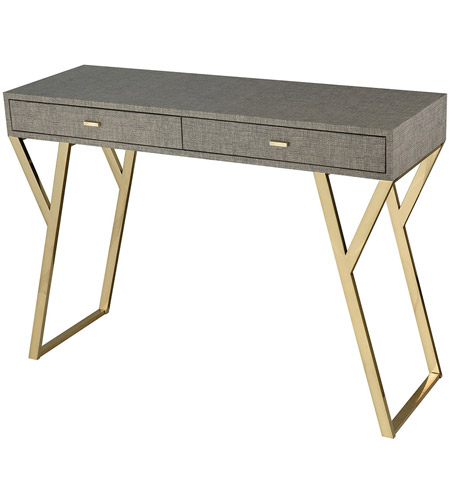 Gentil Sterling 1218 1002 Sunset Plaza 43 Inch Linen Look Faux Leather With Gold  Plate Console Table