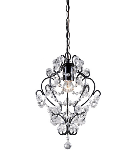 Sterling Industries Black Framed And Clear Crystal Mini Pendant Lamp 122-005 photo