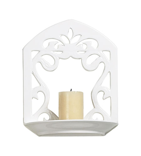 Sterling Industries White Ceramic Candle Sconce Decorative Accessory in White Glaze 125-025 photo