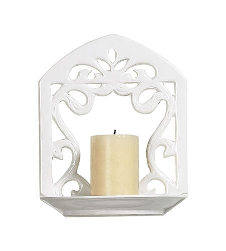 Sterling Industries White Ceramic Candle Sconce Decorative Accessory in White Glaze 125-026 photo