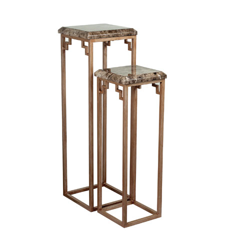 Sterling Industries Marble Top Pedestals in Brown Marble / Warm Antique Silver 125-047 photo