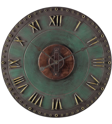 Sterling Industries Metal Roman Numeral Outdoor Wall Clock in Marilia Verde With Gold 128-1004 photo