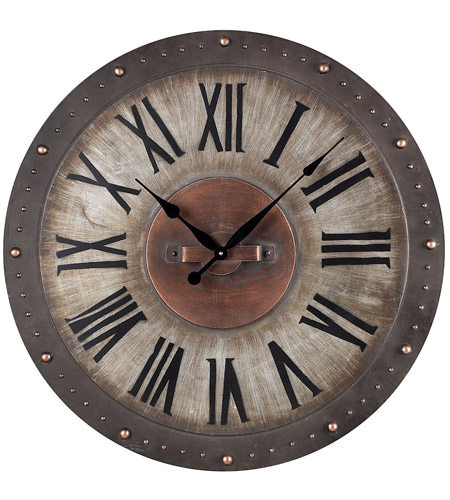 Sterling Industries Metal Roman Numeral Outdoor Wall Clock in Jardim Grey With Copper Highlight 128-1005 photo